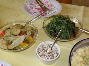 Antipasti, Auberginen-Rucola-Salat, Tomaten-Rucola-Feta
