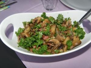 Pilze mit Speck und Parmesan